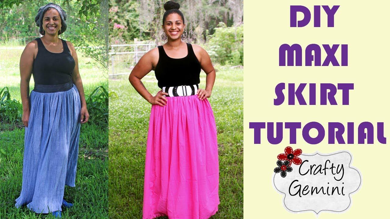 How to Make a Maxi Skirt- DIY Tutorial- NO ELASTIC waistband