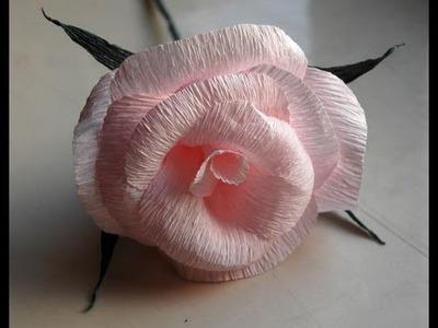 How to make paper crepe rose DIY