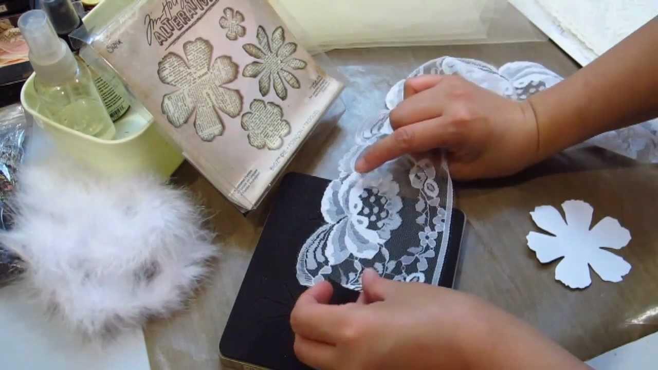Le Romantique Tutorial 2: Vintage Fabric flower and Flower Gem Centre