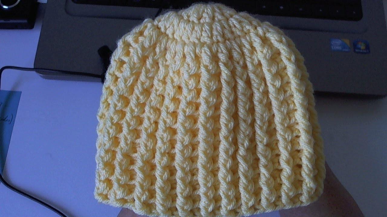 Learn to crochet Easy Ribbed Beanie.Cap Style 1  (Tambien en Español)