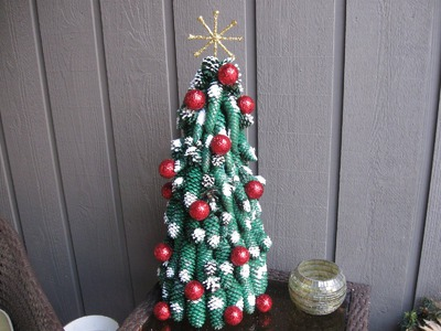 Pine Cone Christmas Tree with Golf Balls Craft Tutorial