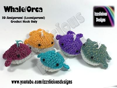 Rainbow Loom 3D Amigurumi Whale.Orca (Loomigurumi) Crochet Hook - Loom-less