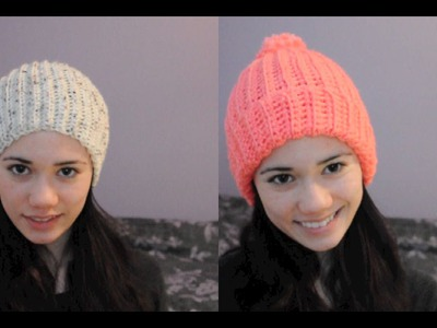 Super Easy Ribbed Crocheted Hat.Beanie
