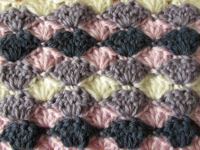 VERY EASY crochet shell stitch blanket - crochet blanket.afghan for beginners