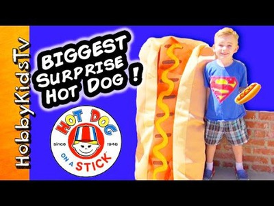 Worlds BIGGEST HOT DOG! Real Puppies + Toy Surprises Race Picnic Craft Day, Piggy Bank HobbyKidsTV