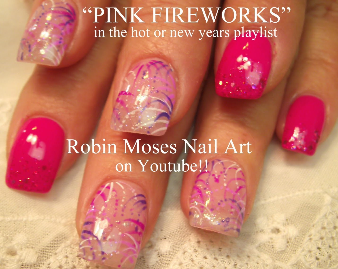 4 Nail Art Tutorials For Beginners Diy Easy Pink Fireworks Nails