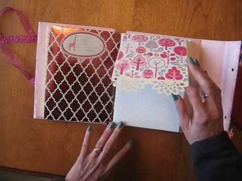 Baby Girl Scrapbook Mini Album with Stitched & Beaded Spine (Tutorial available)