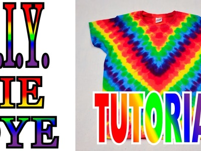 DIY How to Tie Dye Rainbow Diagonal Fan Fold Shirt [Short Tutorial]