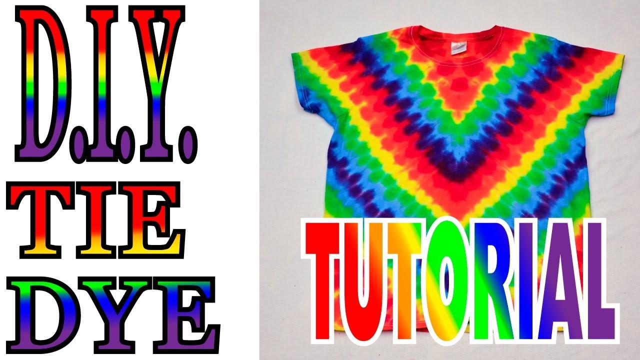 DIY How to Tie Dye Rainbow Diagonal Fan Fold Shirt [Short Tutorial]