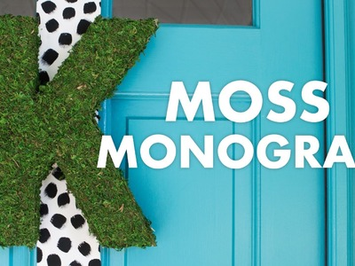 DIY Modern Moss Monogram Wreath Door Hanging Decor