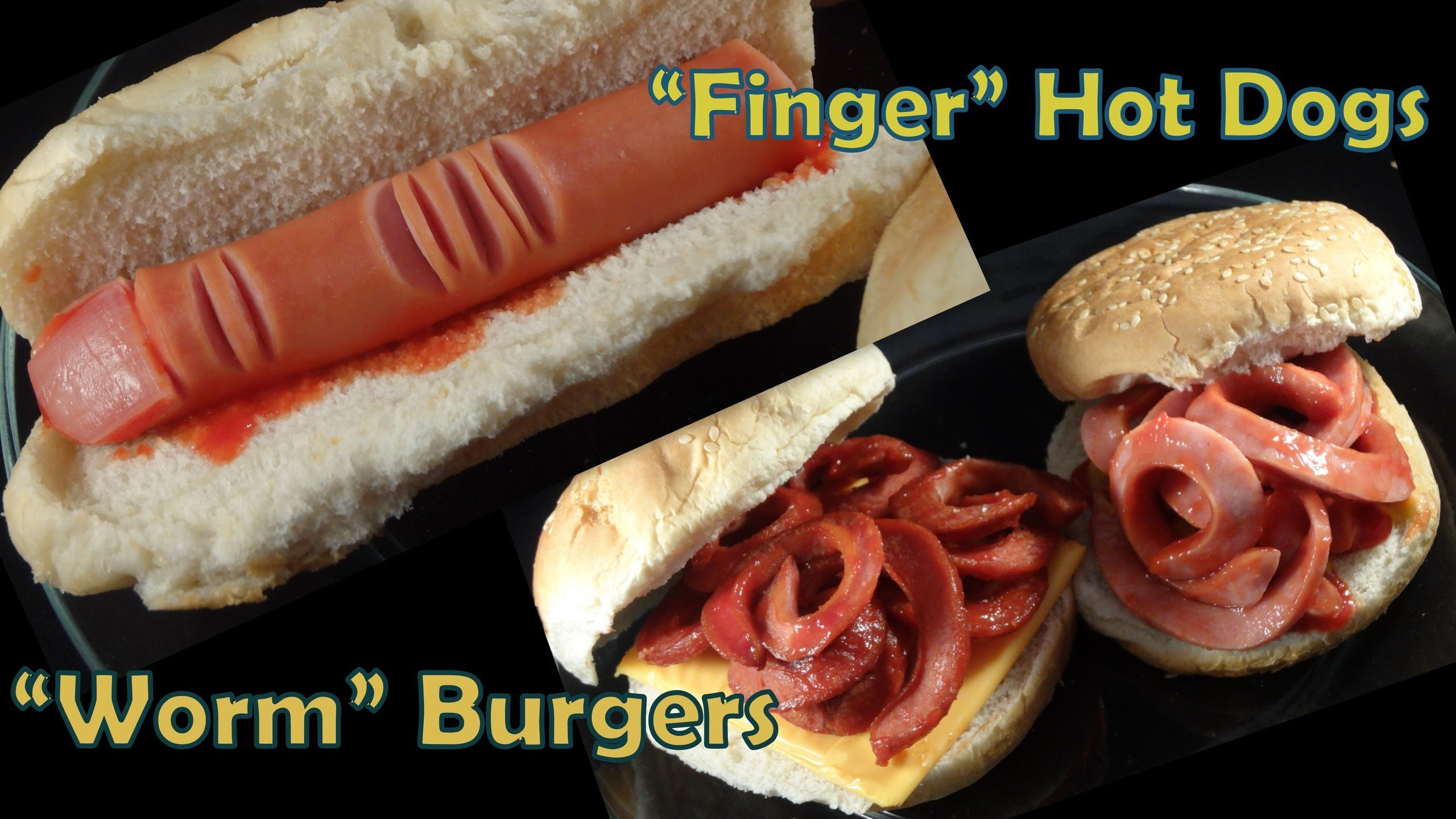"""Halloween Hot Dog fingers and """"Worm"""" Burgers- with yoyomax12"""