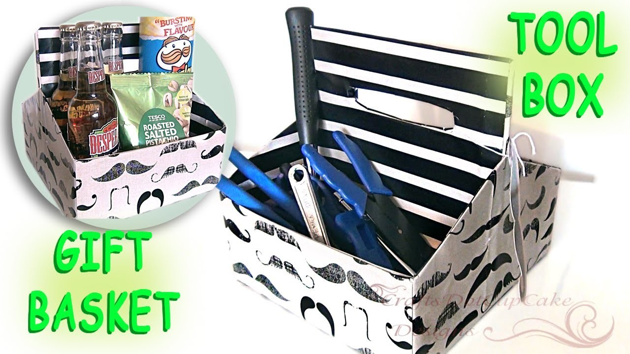Last Minute DIY Fathers Day Gift - * Mustache * Gift Basket & Tool Box