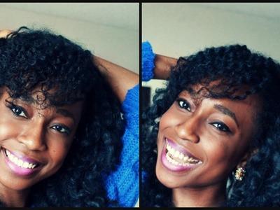 Natural Hairstyles Tutorial(4a.4b.4c)     Twist out Side bangs & Marley Crochet hair