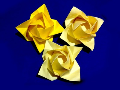 Origami rose - flower. Ideas for gift decor. Fukuyama Rose. Ideas for Mother's day