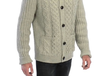 Peregrine by J.G. Glover Cable-Knit Crew Cardigan Sweater - Merino Wool (For Men)