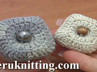 Stuffed Square Button Crochet Tutorial 3 Part 2 of 2 Crochet Decrease Stitches