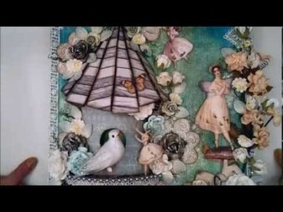 Tutorial, showing how to create an altered canvas with bird house- Wild Orchid Crafts DT project