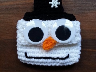 #Crochet Easy Big Googly Eyed Snowman Giftcard Holder for Christmas #TUTORIAL