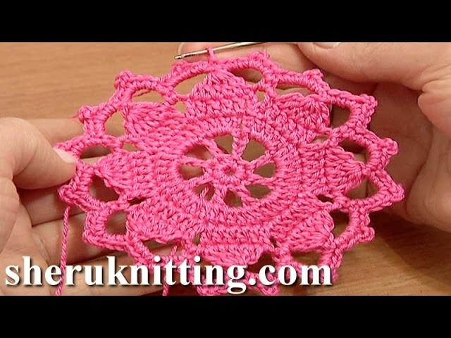 Crochet Wide Lace Tape Tutorial 7 Part 1 of 2 Crochet Round Motif