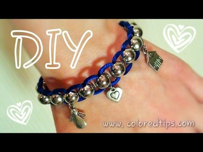 "DIY Beads and Cord Bracelet - Easy and Awesome DIY Bracelet ""Lazy Shamballa"""