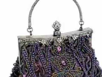 Exquisite Seed Bead Sequined Leaf Evening Handbag Clasp Purse Clutch w.Hidden Handle