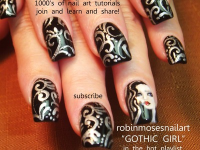 Nail Art Design - Black and Silver Filigree DIY Nail Tutorial