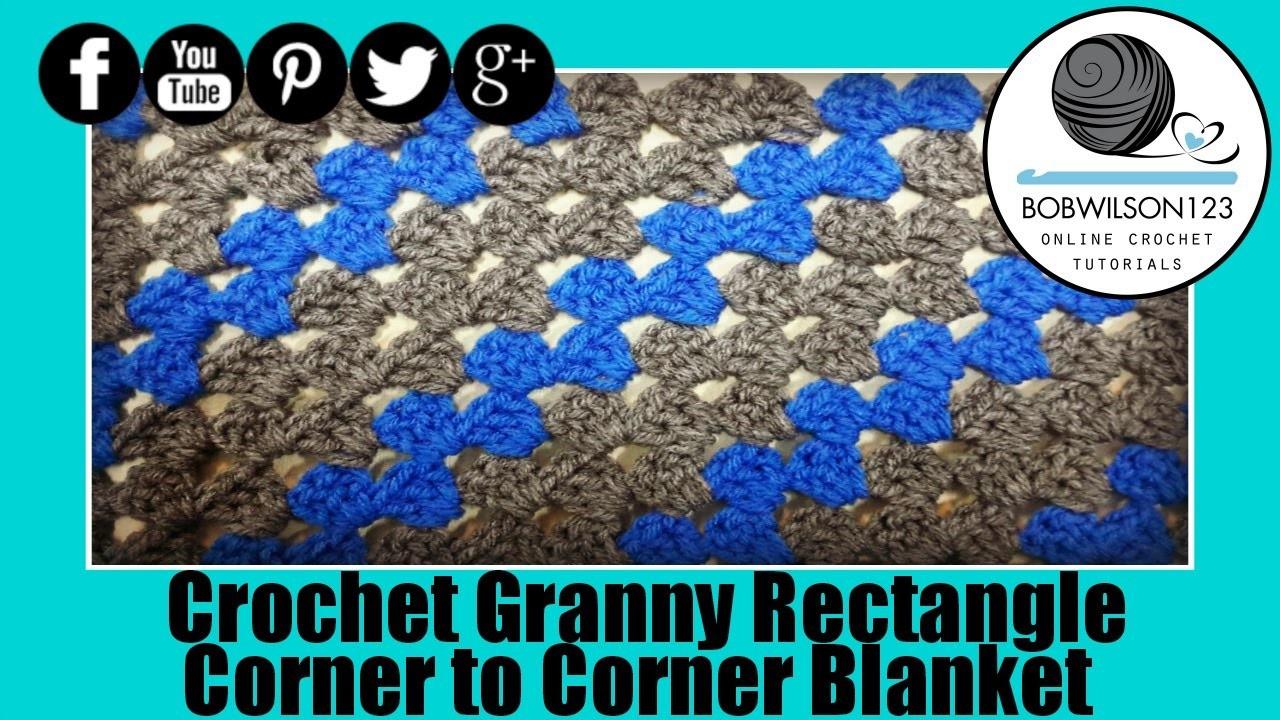 Rectangle Corner to Corner Granny Crochet Tutorial - scarf or blanket