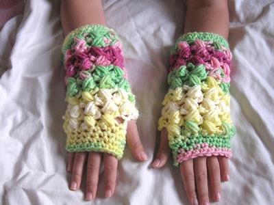 Zig Zag Puff Stitch Finger less Gloves - Crochet Tutorial