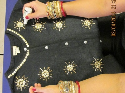 CARDIGAN DECORATING IDEAS: DECORATE YOUR CARDIGAN WITH SEQUINS AND BEADS.