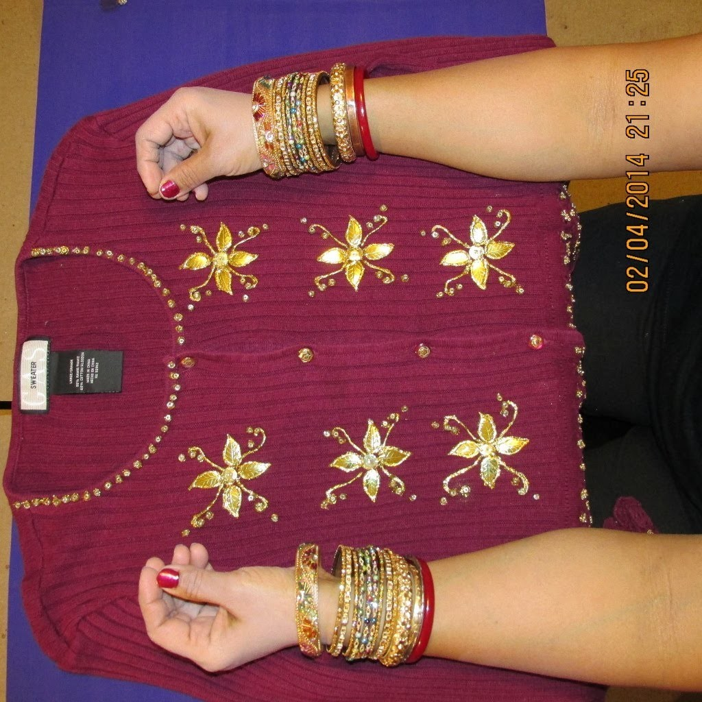 CARDIGAN DECORATING IDEAS: DECORATE YOUR CARDIGAN WITH BEADS, SEQUINS AND GOLDEN LEAFS.