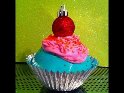 DIY Christmas Ornament CUTE CUPCAKE ORNAMENTS! so cute!!