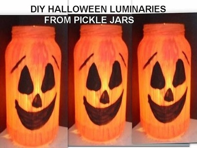 DIY PICKLE JAR HALLOWEEN JACK-O-LANTERNS, recycle, reuse, pumpkin, ghost, frankenstein, ghouls