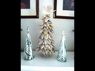 FOLDED BOOK PAGES CHRISTMAS TREE, recycle, diy, make it