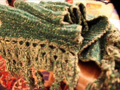 How to - crochet and knit a greenish scarf - tutorial