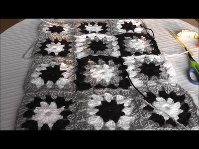 Patchwork crochet pillow multicolor pattern, crochet squares Part 2 of 3