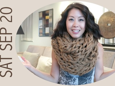 Vlog - Arm Knitting a Chunky Scarf and Donuts!
