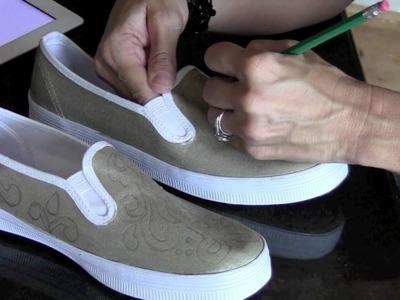 DIY: Damask Painted Shoe Project | ShowMeCute