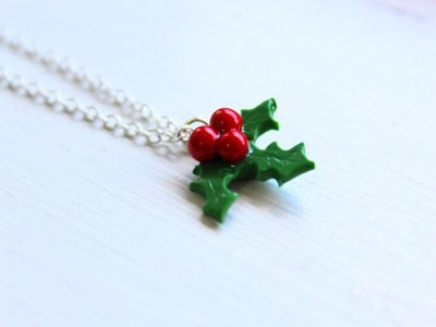 DIY: Holly (Mistletoe) Necklace Polymer Clay Tutorial