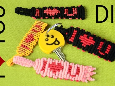 DIY Knotted Keychain - I ❤ U - Tutorial
