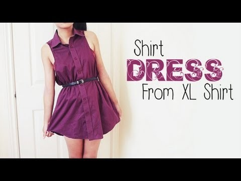 DIY ✂ Shirt Dress from Men's Shirt (Easy Reconstruction)