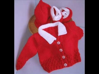Hand knitted colourful baby cardigans.wmv