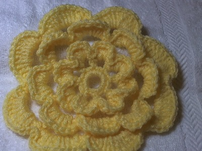 How to crochet a flower tutorial.  Cabbage Rose