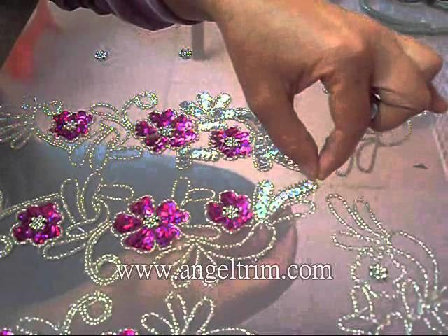 How to make sequins beaded  flower applique motif Handmade craft