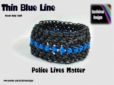 Rainbow Loom - Thin Blue Line Bracelet - Crochet Hook Only - Support Our LEO's