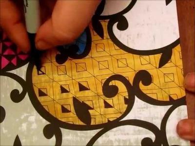 Zentangle on Patterned Scrapbook Paper