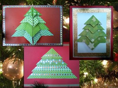 3 Easy Origami Christmas Tree Cards (diff 1.10, 2.10) (Noël Weihnachtskarten Navidad)
