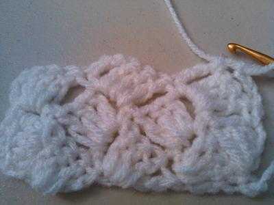 Crochet crazy shell stitch, Slanted shell  .  Puntada Conchas locas en crochet