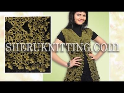 Crochet Sleeveless Motif Cardigan Model 21