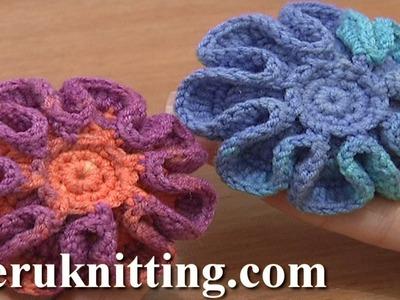 Crochet Stuffed Flower Button Tutorial 5 Part 1 of 2 Crochet Flower on Plate