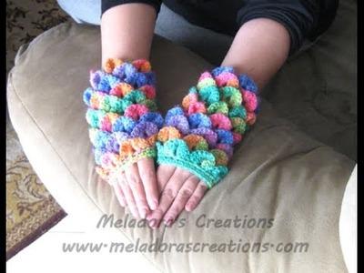 Crocodile Stitch Finger less Gloves - Left handed Crochet Tutorial